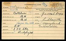 Significant pre-rookie era Jimmie Foxx autographed & handwritten baseball informational card.
