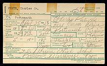 Charlie Peete autographed & handwritten baseball informational card.