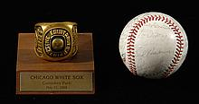 Cracker Jack Old-Timers autographed baseball with DiMaggio & presentational participants award.
