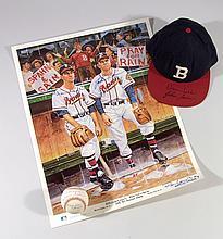 Warren Spahn & Johnny Sain autographed baseball, hat, and artist proof print.