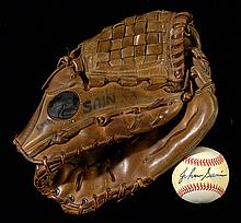 Johnny Sain's coaching era baseball glove, plus signed baseball.