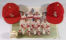 Lot of (2) c.1971-75 Chicago White Sox professional model hats, plus photo picturing Sain & the other White Sox coaches.