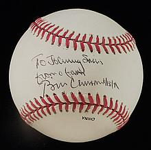 Bill Clinton autographed baseball personalized to Johnny Sain.