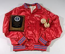 Lot of assorted baseball attire & memorabilia including Sain's Pitching Coach Spinner.