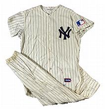Fine c.1962-1969 Joe DiMaggio New York Yankees home uniform as worn for Old-Timers Day throughout the decade (EX)