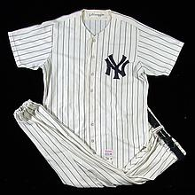 1974 Joe DiMaggio New York Yankees professional model uniform as worn for Old-Timers Day (EX)