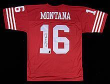 Joe Montana autographed San Francisco 49ers jersey.