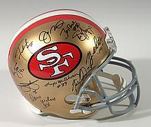 San Francisco 49ers stars & Hall of Famers autographed helmet.
