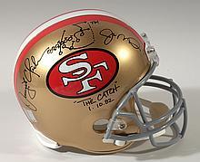 Joe Montana & Dwight Clark autographed San Francisco 49ers helmet with