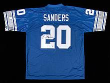 Barry Sanders autographed Detroit Lions jersey.