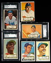 Lot of (14) Brooklyn Dodgers 1952 Topps Baseball cards with graded Pafko, Hodges, and Joe Black rookie high number.