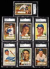 Lot of (7) graded Brooklyn Dodgers 1952 Topps Baseball cards including Snider, Pafko, and high number Morgan.