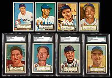 Lot of (16) New York Giants 1952 Topps Baseball cards with (4) graded high numbers including Durocher.