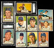 Lot of (10) New York Giants 1952 Topps Baseball cards including graded NM high numbers.
