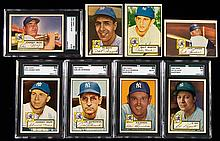 Lot of (15) New York Yankees 1952 Topps Baseball cards with Rizzuto, Mize, and NM-NM/MT graded cards.