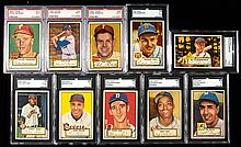 Lot of (10) Hall of Famers graded 1952 Topps Baseball cards.