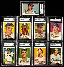 Lot of (9) 1952 Topps Baseball cards all graded SGC 84 NM including DiMaggio.