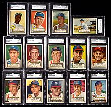 Lot of (14) 1952 Topps Baseball cards all graded SGC 80 EX/NM including Minoso rookie & Bartirome high number.