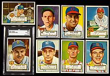 Lot of (51) 1952 Topps Baseball cards including Kell graded EX/MT+.