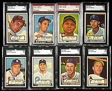 Lot of (37) 1952 Topps mid numbers with (8) graded including Wynn & Branca.
