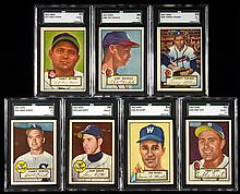 Lot of (31) 1952 Topps mid numbers with (7) graded including SGC 88 Dente.