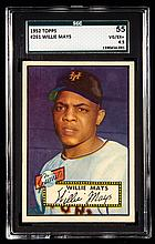 1952 Topps #261 Willie Mays graded SGC 55 (VG/EX+).