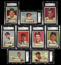Lot of (9) graded 1952 Topps mid & high numbers.