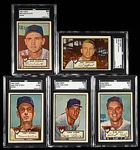 Lot of (5) Chicago Cubs graded 1952 Topps high numbers.