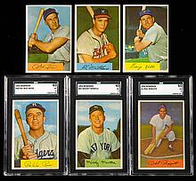 1954 Bowman Baseball card set including graded Hall of Famers.