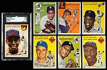 Lot of (20) 1954 Topps Baseball cards with Hall of Famers including graded Banks rookie.
