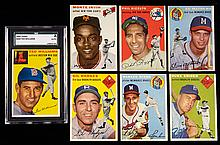 1954 Topps near set of (233) different cards including Hall of Famers.