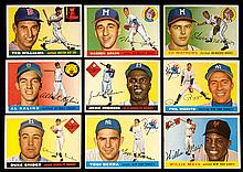 1954 Topps near set of (200) different cards including Hall of Famers.