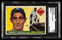 1955 Topps #123 Sandy Koufax rookie card graded SGC 60 (EX).
