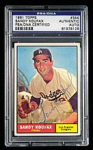 1961 Topps #344 Sandy Koufax autographed card (PSA/DNA) (Sig. NM)