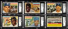 Lot of (6) graded key cards from the 1956 Topps set.
