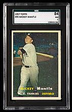 1957 Topps #95 Mickey Mantle graded SGC 84 (NM).