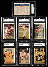 Lot of (7) graded key cards from the 1957 Topps set.