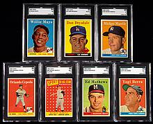 Lot of (7) Hall of Famers graded 1958 Topps Baseball cards.