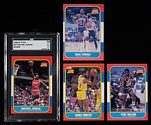 1986-87 Fleer Basketball partial set (99 of 132 cards) with SGC graded Jordan Rookie (Avg. EX/MT-NM)