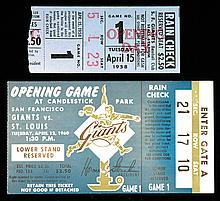 1958 and 1960 San Francisco Giants Inaugural Game ticket stubs (see description)