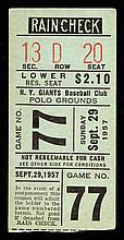September 29, 1957 Polo Grounds final game ticket stub (VG/EX)