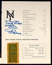 1964 Shea Stadium first game ticket stubs (2) and dedication program (see description)