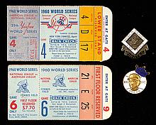 1960 World Series press pins (2) and ticket stubs (2) (VG/EX and EX/MT-NM)