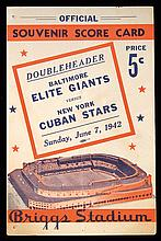 1942 Baltimore Elite Giants vs. New York Cuban Stars scorecard (VG)