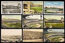 Lot of (10) Polo Grounds postcards c.1910s-30s incl. Spalding ad and real photo (GD-EX)