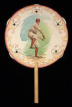 Baseball illustrated advertising fan with scoring wheels c.1904 (EX)