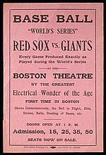 1912 Red Sox vs. Giants World Series handbill (EX)