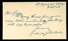 Bobby Wallace autographed and dated index card.