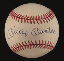 Mickey Mantle single signed baseball. Rawlings B.Brown Official American League baseball has been signed across the sweetspot,
