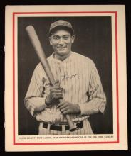 Tony Lazzeri c.1930s autographed Baseball Magazine publication photograph. Large format black and white image appearing on interior side of back cover has been signed in period fountain pen,